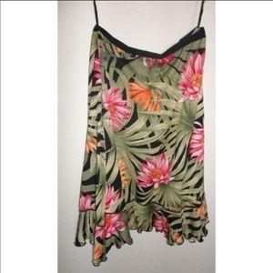EUC 100% Silk Tropical Ruffle Skirt